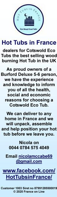 Hot Tubs in France,Cotswold Eco Tubs,wood burning hot tubs,UK,English,delivered in France,assembled