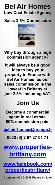 Bel Air Homes,low cost Estate Agent,Brittany,2.5% commissioin,France,agent commercial,Morbihan,Cotes d'Armor,Finistere,Ille et Vilaine