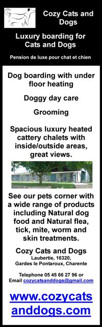 Cozy Cats and Dogs,luxury boarding for cats and dogs,pension de luxe pour chat et chien,kennels,under floor heating,dog day care,grooming,English speaking,heated cattery,chalets,pets corner,natural dog food,flea,tick,mite,worm,skin,treatments