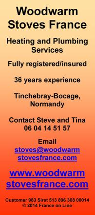 Woodwarm Stoves France,plumbing,heating,installation,wood burners,Tinchebray Bocage,Normandy,Brittany