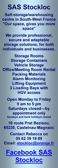 Stockloc,self storage,warehousing,Castelnau-Magnoac,Midi Pyrenees,secure storage,professional storage,personal,business,furniture,stock,logistics,storage containers,storage rooms,loading bays,lifting equipment,fenced,alarmed,packing material