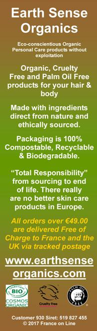 Earth Sense,ethically sources,organically produced,in France,no water,no chemicals,no artificial preservatives,colours,perfumes,raw,organic body care products