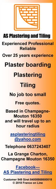 AS Plastering and Tiling,plaster boarding,plastering,tiling,Champagne Moutin,16350,Charente,plasterer,English speaking,tiler