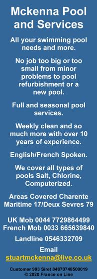 McKenna Pool and Services,swimming pool maintenance,swimming pool refurbishment,new swimming pool,full swimming pool service,seasonal swimming pool service,weekly swimming pool clean,Englihs,salt swimming pool,chlorine swimming pool,computerised swimming pool,Charente Maritime,Deux Sevres,France