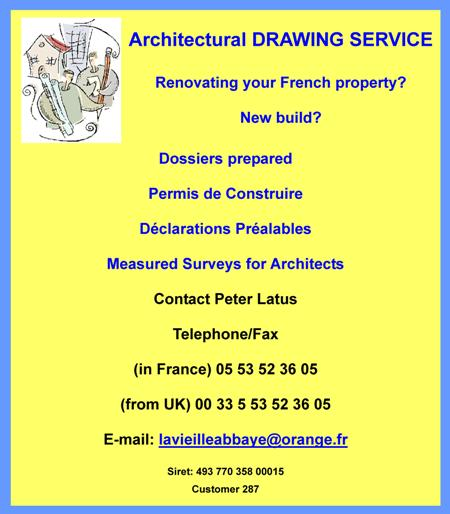 Peter Latus,architectural drawing service,english speaking architect,Dordogne,Limousin,dossiers,permis de construire,planning permission,declarations prealables,measured surveys