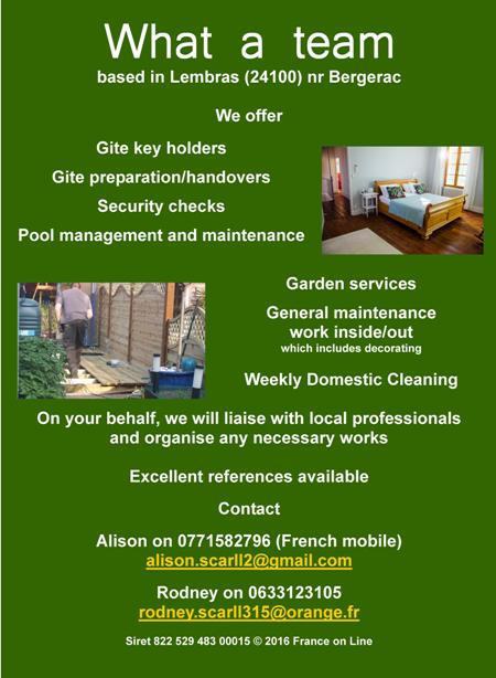 Lembras,24100,Bergerac,Dordogne,gite key holders,gite preparation,handovers,security check,pool management,maintenance,garden services,general maintenance,decorating,weekly domestic cleaning,English