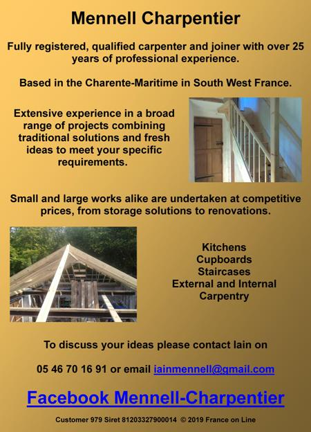 Mennell Charpentier,English speaking,carpenter,joiner,Charente Maritime,Saint Thomas de Conac,kitchens,cupboards,staircases,external carpentry,internal carpentry,storage solutions,renovations