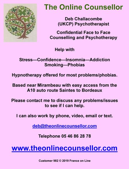 The Online Counsellor,Deb Challacombe,UKCP,Psychotherapist,face to face counselling,psychotherapy,stress,confidence,insomnia,addiction,stop smoking,phobias,hypnotherapy,Mirambeau