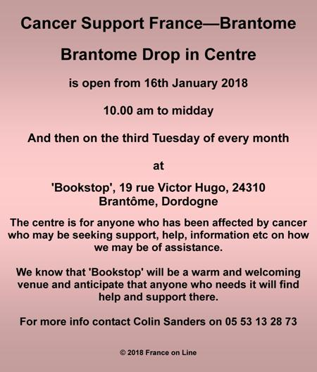 Cancer Support France,Brantome Drop in Centre,Dordogne