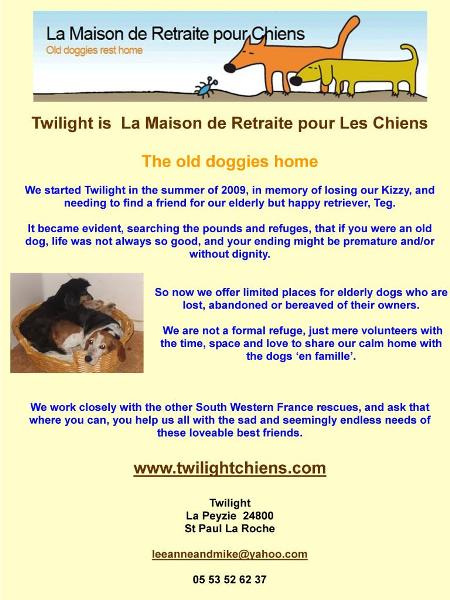 Twilight La Maison de Retraite pour Chiens - the old doggies rest home Dordogne