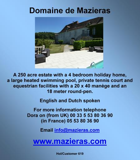 Domaine de Mazieras,4 bedroom holiday home,heated swimming pool,private tennis court,equestrian facilities,English,Dutch,Dordogne