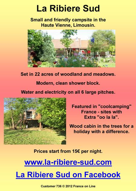 La Ribiere Sud,Chalus,Haute Vienne,Limousin,English,campsite,caravan site,shower block,water,electric,6 pitches,wood tree house
