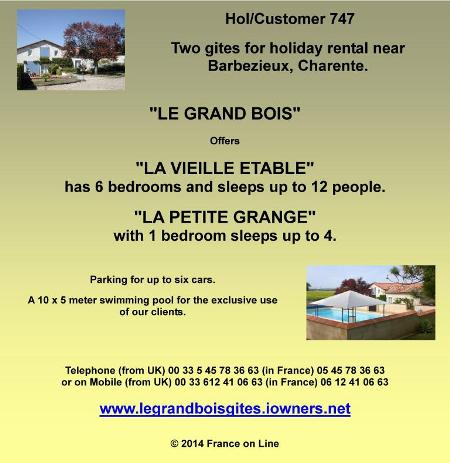 Two gites for holiday rental,Barbezieux,Charente,sleeps 12,sleeps 4,swimming pool