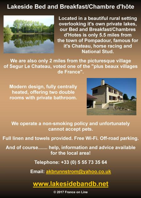Lakeside Bed and Breakfast,Chambre d'Hote,Pompadour,Segur le Chateau,free wifi