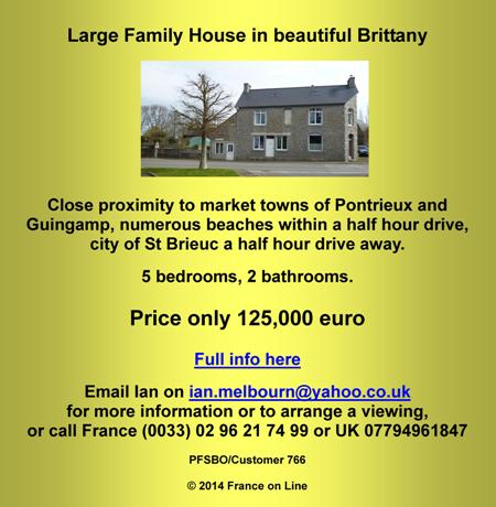 Family house for sale by owner,Brittany,Pontrieux,Guingamp,St Brieuc,5 bedrooms,2 bathrooms,125000 euro