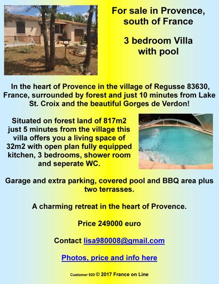 For sale by owner,Provence,south of France,3 bedroom villa,swimming pool,Regusse,83630,Lake St Croix,Gorges de Verdon,249000 euro